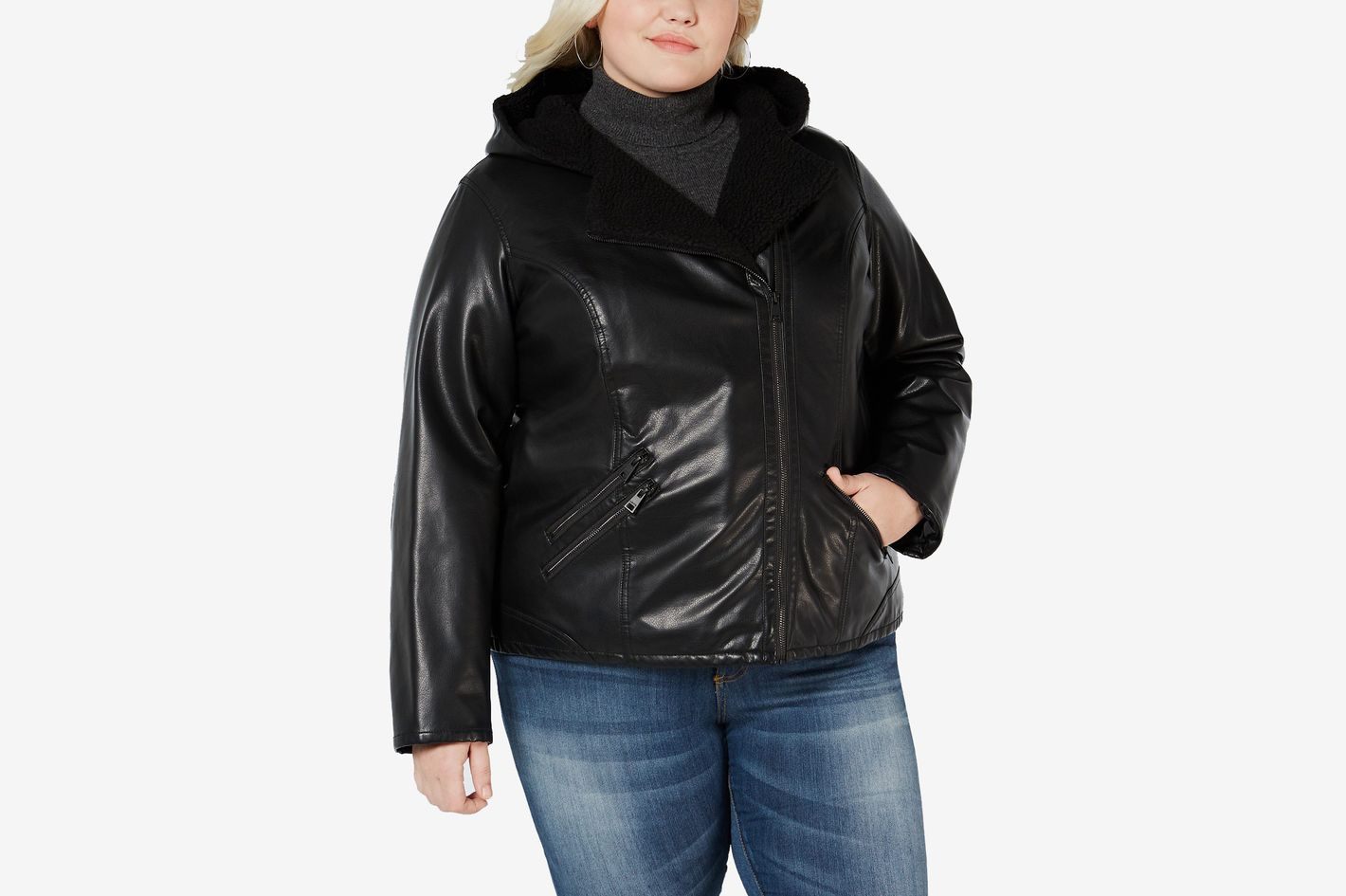 Levi's Plus Size Faux Sherpa-Lined Hooded Moto Jacket