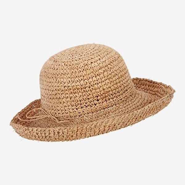 Jeanne Simmons Women's 3 Inch Turn Up Brim Straw Crochet Summer Bucket Hat
