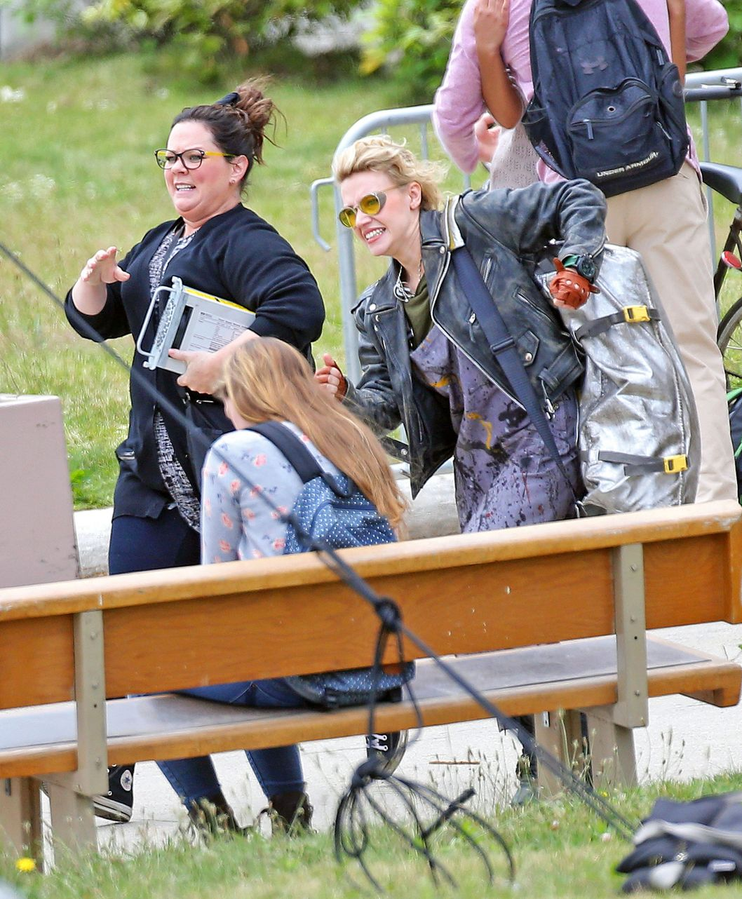 Melissa McCarthy, Kate McKinnon, and Kristin Wiig all together for 1st day of filming all girl 'Ghostbusters' in Boston with slime on pants and ghost trap
