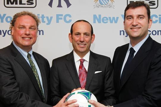 From left: Yankees president Randy Levine, MLS commissioner Don Garber, and Manchester City Football Club CEO Ferran Soriano.