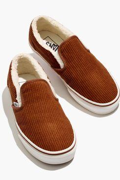 Madewell x Vans Corduroy Sherpa Slip-On Sneakers