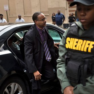Baltimore Police Officer Caesar Goodson Jr. arrives for his murder trial in the death of Freddie Gray, at the Baltimore Circuit Court House on June 23, 2016 in Baltimore, Maryland.