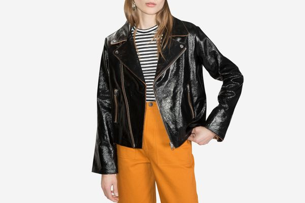 & Other Stories Patent Leather Biker Jacket