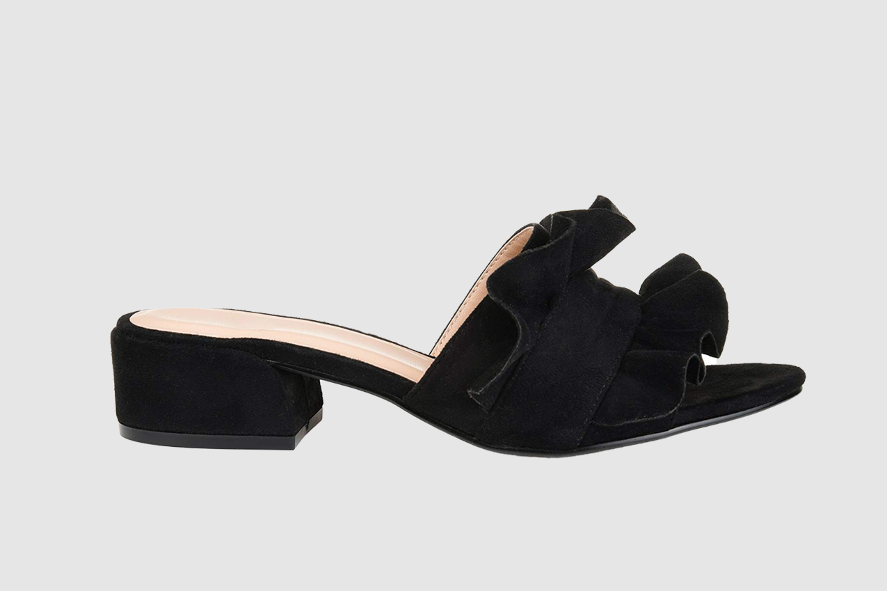Brinley Co. Womens Salest Ruffle Faux Suede Slide-on Mules