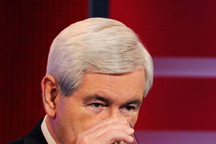 DES MOINES, IA - DECEMBER 10: Former speaker of the House Newt Gingrich takes a sip of water during the ABC News GOP Presidential debate on the campus of Drake University on December 10, 2011 in Des Moines, Iowa. Rivals were expected to target front runner Gingrich in the debate hosted by ABC News, Yahoo News, WOI-TV, The Des Moines Register and the Iowa GOP.  (Photo by Kevork Djansezian/Getty Images)