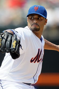 NEW YORK, NY - MAY 26:  Johan Santana #57 of the New York Mets pitches against the San Diego Padres at Citi Field on May 26, 2012 in the Flushing neighborhood of the Queens borough of New York City.  (Photo by Jim McIsaac/Getty Images)
