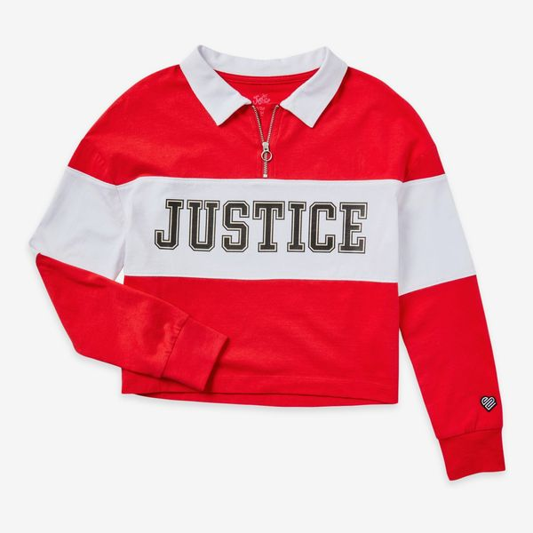 Justice Girls Long Sleeve 90s Collection Collared Top