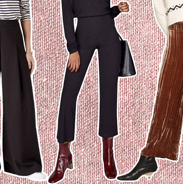 Womens Formal Turn-up Trousers Elastic Waist Slim Fit Above Ankle Pocket Pants