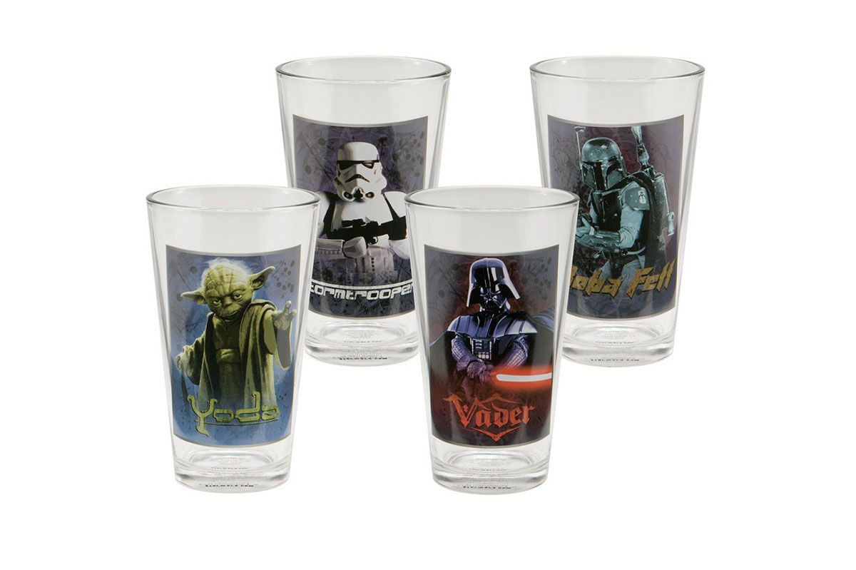 Vandor 99179 Star Wars 4 pc 16 oz Glass Set, Multicolor