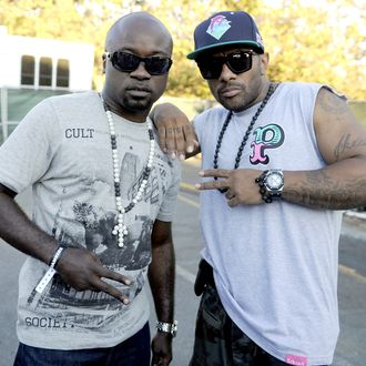 Havoc (L) and Prodigy of Mobb Deep pose at Rock the Bells 2011 at Shoreline Amphitheatre on August 27, 2011 in Mountain View, California.