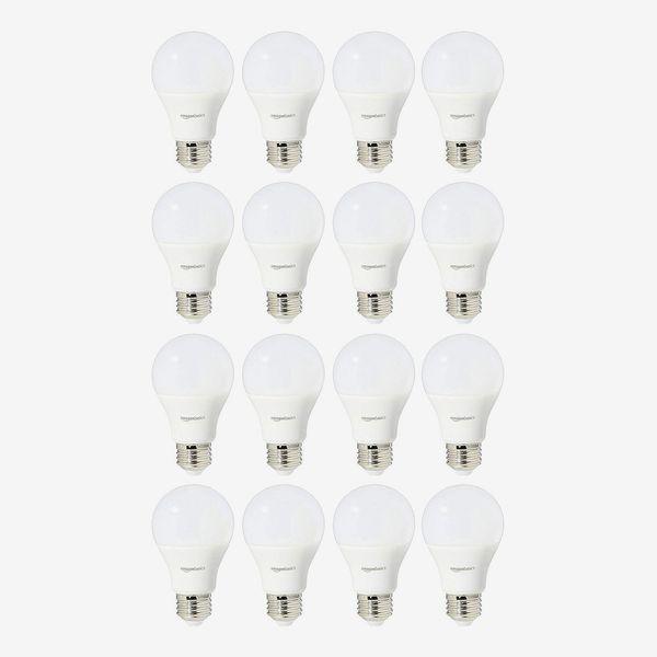 AmazonBasics 60 Watt Equivalent Non-Dimmable A19 LED Light Bulb, Soft White (16-Pack)