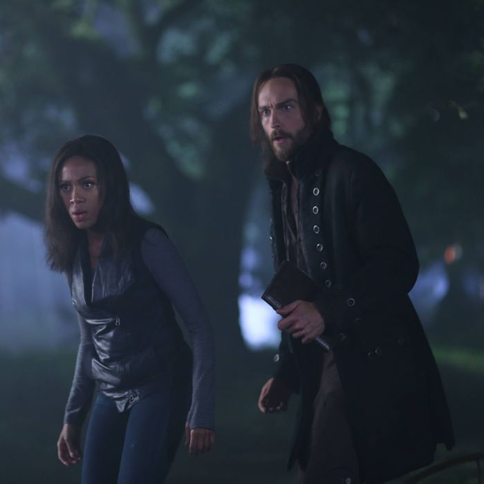 SLEEPY HOLLOW: Ichabod (Tom Mison, R) and Abbie (Nicole Beharie, L) attempt to resurrect a Frankenstein-like monster to help rescue Katrina in the