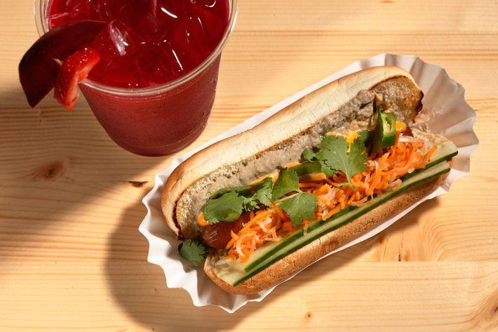 Asiadog's hot dog and beet juice.