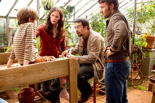 """THE ODD LIFE OF TIMOTHY GREEN""- Photo ID, left to right:  Cameron ""CJ"" Adams, Jennifer Garner, Lin-Manuel Miranda, Joel Edgerton"