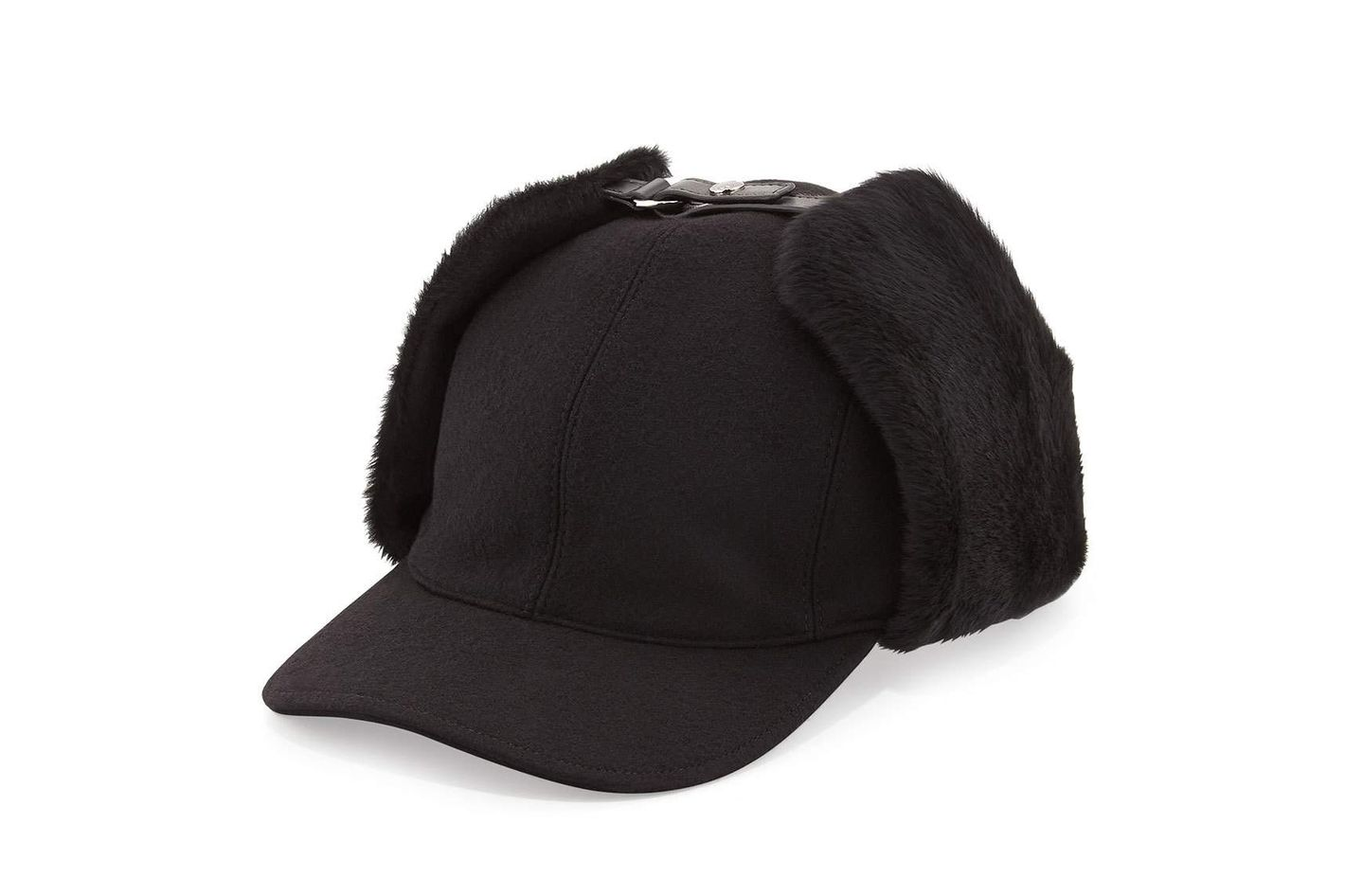 Prada Wool and Shearling Trapper Baseball Cap