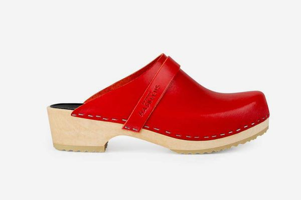 Swedish Hasbeens Husband Clogs, Red