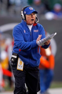 EAST RUTHERFORD, NJ - DECEMBER 24:  Head coach Tom Coughlin of the New York Giants yells to his team during the second quarter of a game against the New York Jets at MetLife Stadium on December 24, 2011 in East Rutherford. New Jersey. (Photo by Rich Schultz /Getty Images)
