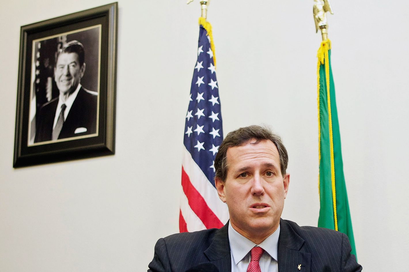 Republican presidential candidate Sen. Rick Santorum speaks to the media February 13, 2012