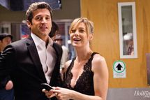 Patrick Dempsey (Dr. Derek Shepherd) and Ellen Pompeo (Dr. Meredith Grey) between takes during the filming of the 200th episode of Grey's Anatomy.