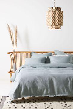 Anthropologie Home Luxe Linen Blend Duvet Cover (Seafoam, Queen)