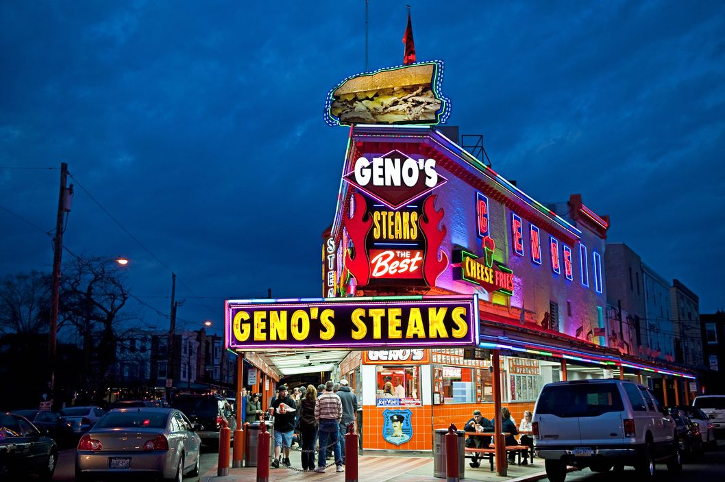 PHILADELPHIA, PENNSYLVANIA, UNITED STATES - 2009/03/22: Famous Geno's Steaks at night. (Photo by John Greim/LightRocket via Getty Images)