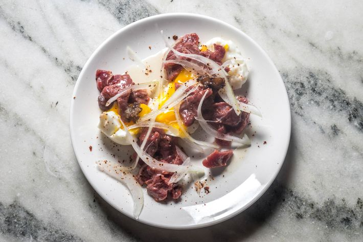 The beef tartare is made with bone marrow and soft-poached egg.