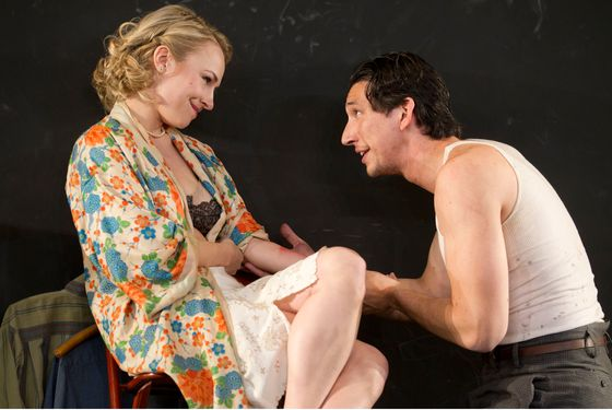 Look Back in Anger Laura Pels Theatre  Cast List: Adam Driver Sarah Goldberg Charlotte Parry Matthew Rhys Production Credits: Sam Gold (Director) Andrew Lieberman (Sets) David Zinn (Costumes) Mark Barton (Lights) Other Credits: Written by: John Osborne