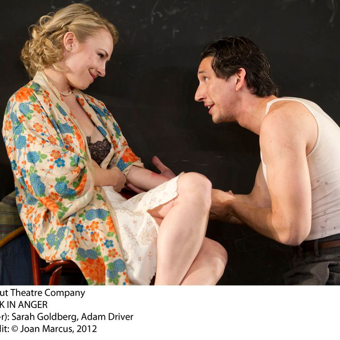 Look Back in AngerLaura Pels TheatreCast List:Adam DriverSarah GoldbergCharlotte ParryMatthew RhysProduction Credits:Sam Gold (Director)Andrew Lieberman (Sets)David Zinn (Costumes)Mark Barton (Lights)Other Credits:Written by: John Osborne
