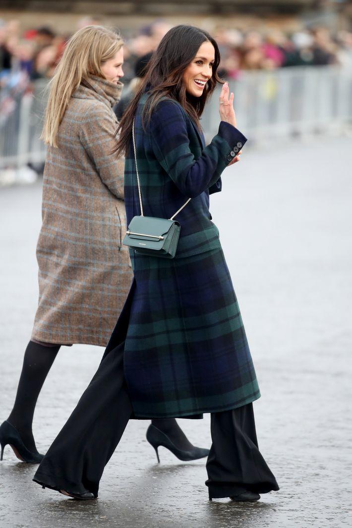 Meghan Markle Wore Burberry Tartan Coat In Scotland