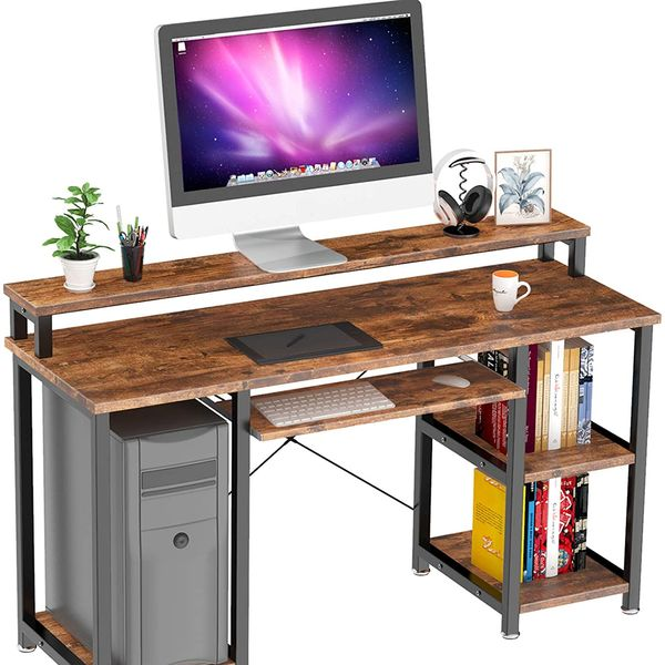 Noblewell Computer Desk With Monitor Stand, Storage Shelves, Keyboard Tray
