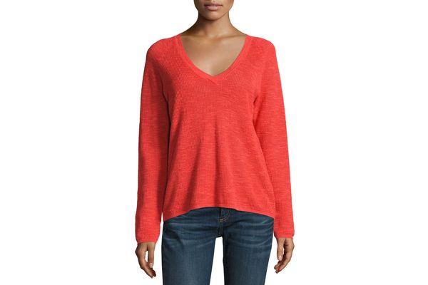 Eileen Fisher V-Neck Organic Linen/Cotton-Blend Slub Top