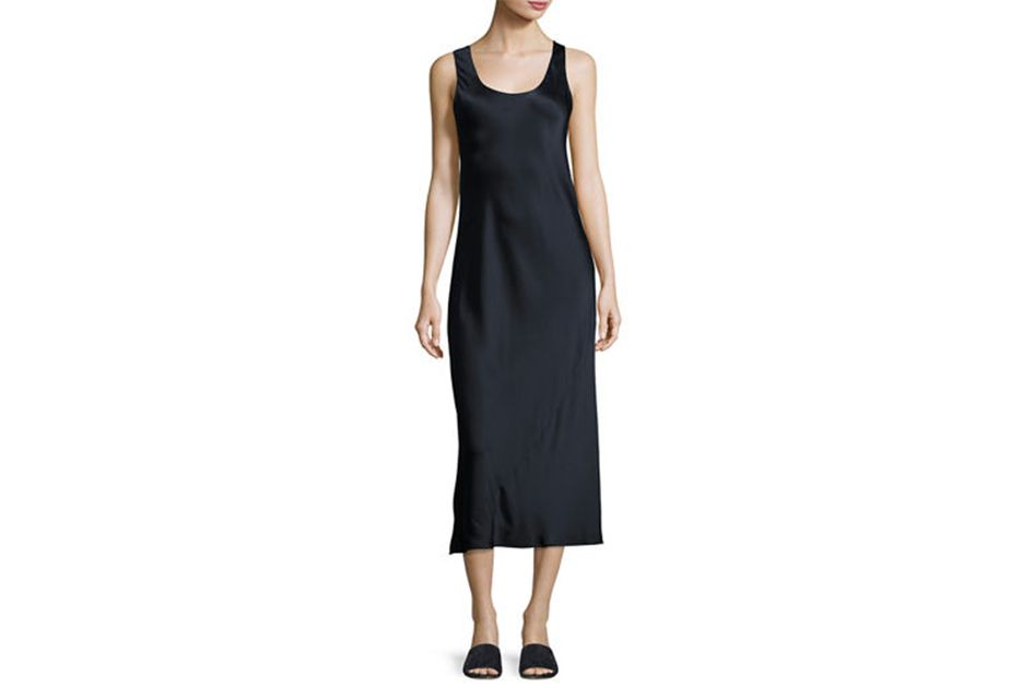 Vince Bias-Seam Sateen Slip Dress