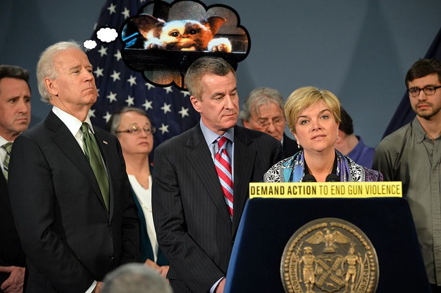 Lynn (R) and Chris (C) McDonnell, parents of Grace, who was killed in the Sandy Hook Elementary School shooting, speaks as US Vice-President Joe Biden (L) listens at press conference with New York Mayor Michael Bloomberg and families from Newtown, Connecticut to discuss the need for federal gun laws March 21, 2013 at City Hall in New York. AFP PHOTO/Stan HONDA        (Photo credit should read STAN HONDA/AFP/Getty Images)