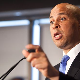 NEWARK, NJ - JUNE 8: Newark Mayor Cory Booker speaks during a news conference on his plans to campaign for the Democratic nomination to run for the seat of late U.S. Sen. Frank Lautenberg on June 8, 2013 in Newark, New Jersey. New Jersey Governor Chris Christie has set October 16th as the date for a special election to determine who will fill Lautenberg's seat for a year. (Photo by Ramin Talaie/Getty Images)