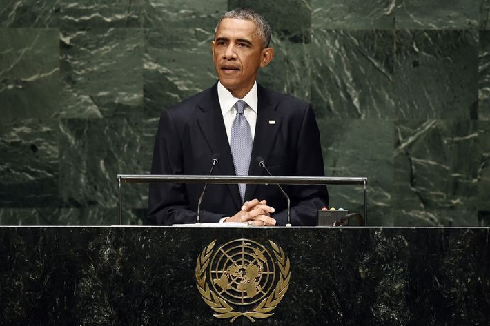US President Barack Obama speaks during the 69th Session of the UN General Assembly at the United Nations in New York on September 24, 2014.