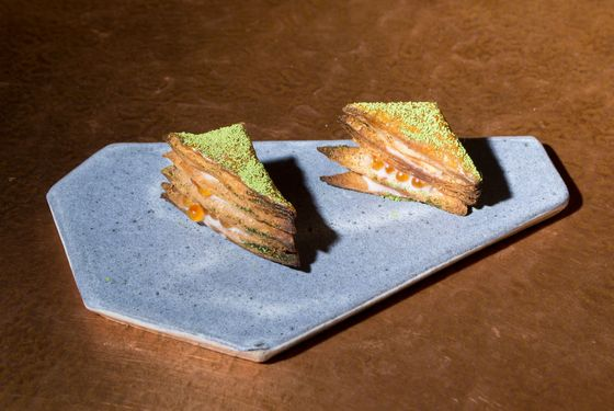 Mille-feuille — trout roe, matcha tea.