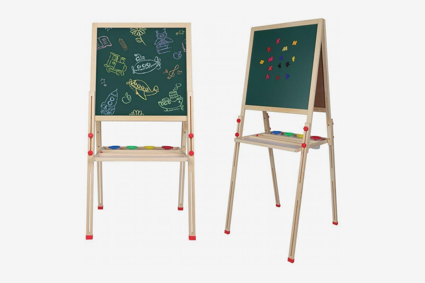 Walfront Adjustable Wooden Dry-Erase Board Standing Art Easel