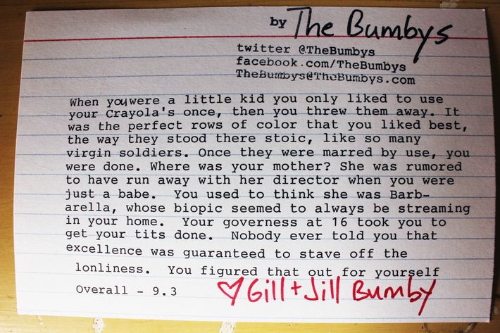 The Bumbys' rating.