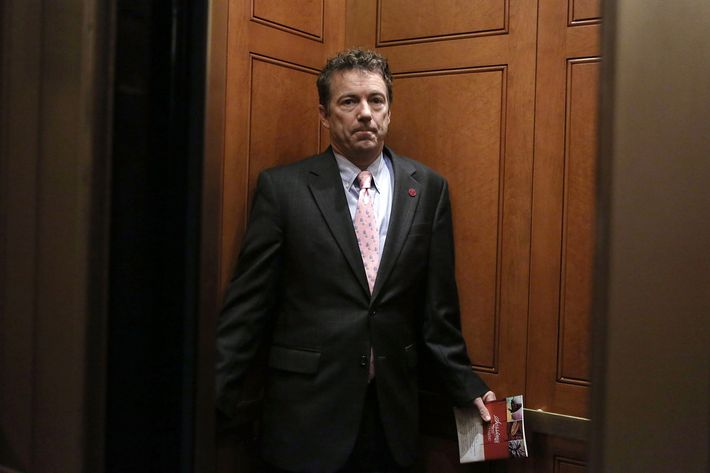 U.S. Senator Rand Paul (R-KY) leaves after a caucus meeting at the Capitol February 14, 2013 on Capitol Hill in Washington, DC. The GOP senators are working to hold up the confirmation vote on former Sen. Chuck Hagel (R-NE) to be the next secretary of defense until they get more information from the Obama Administration about last fall's attack on the U.S. consulate in Libya.