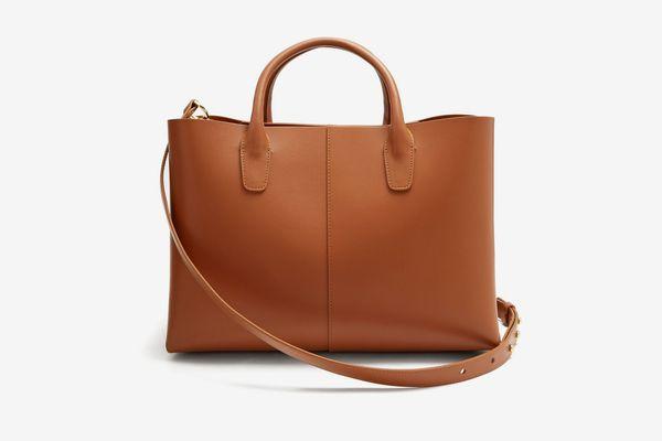 Mansur Gavriel Tan-Brown Lined Folded Leather Bag