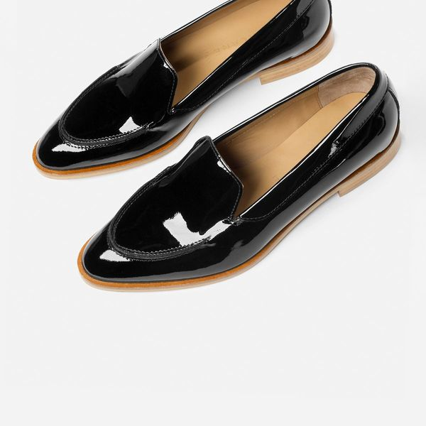 Everlane Modern Loafer, Black Patent pointed-toe shiny black patent party loafers with tan accents. The Strategist - 33 Things on Sale You'll Actually Want to Buy: From Adidas to Le Creuset