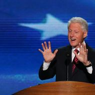 CHARLOTTE, NC - SEPTEMBER 05:  U.S. President Bill Clinton speaks on stage during day two of the Democratic National Convention at Time Warner Cable Arena on September 5, 2012 in Charlotte, North Carolina. The DNC that will run through September 7, will nominate U.S. President Barack Obama as the Democratic presidential candidate.  (Photo by Alex Wong/Getty Images)