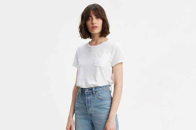 adab95087 Best white T-shirt to wear without a bra. Levi s Perfect Pocket Tee