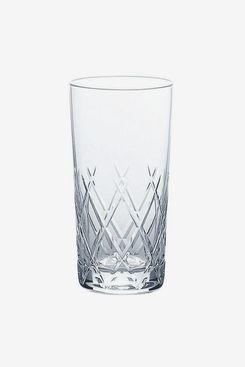 Toyo-Sasaki Glass Hard Strong Diamond Cut Highball Glass (Set of 6)