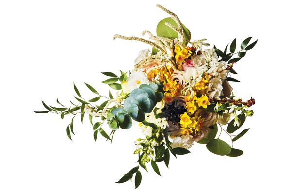 Black scabiosa, amaranthus, daffodil, kangaroo-paw flower, lisianthus, tweedia, hypericum, eucalyptus, pussy willow, Italian ruscus, and rose