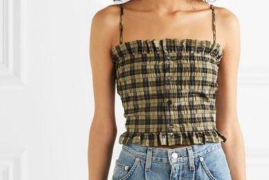 Ganni Cropped Shirred Checked Cotton-Blend Seersucker Top