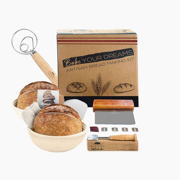 Shori Bake Banneton Bread Proofing Basket Set of 2 Round 9 Inch + Sourdough Bread Making Tools Kit