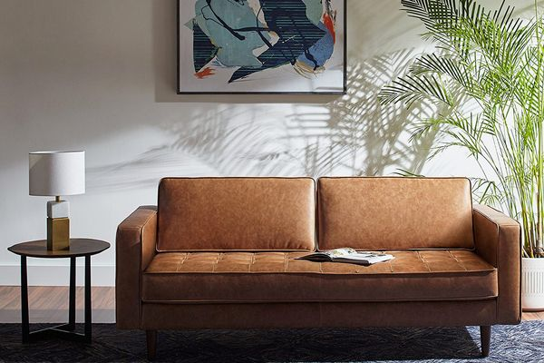 Rivet Aiden Tufted Mid-Century Leather Bench Seat Sofa