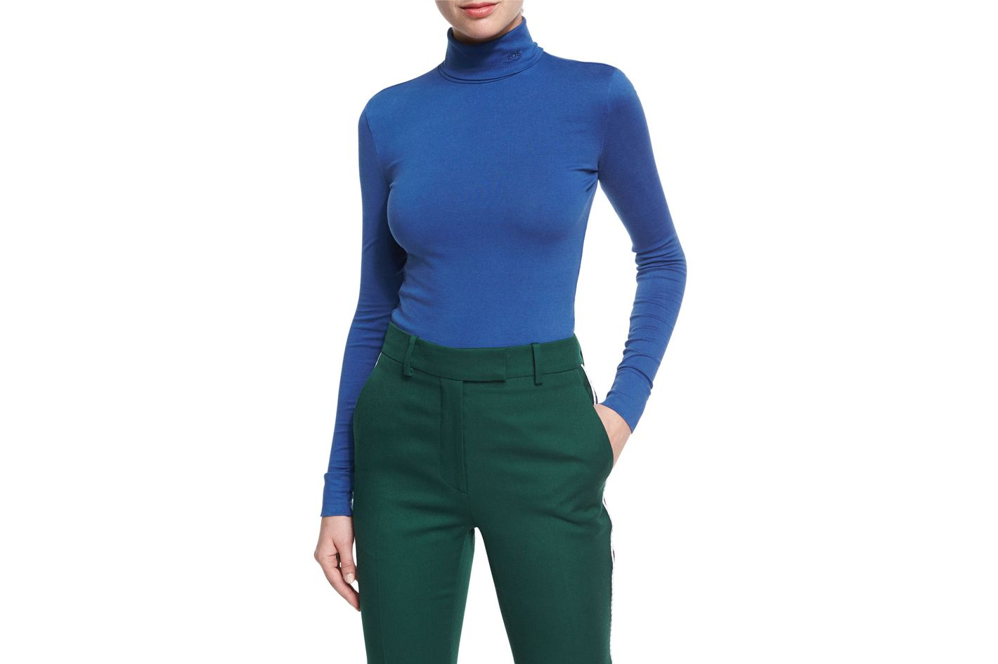 Calvin Klein 205W39NYC Jersey Logo Turtleneck Top