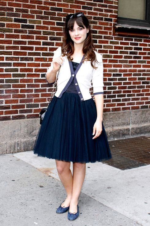 "Zooey Deschanel arrives for the ""Late Show with David Letterman"" at Ed Sullivan Theater on May 7, 2013 in New York City."